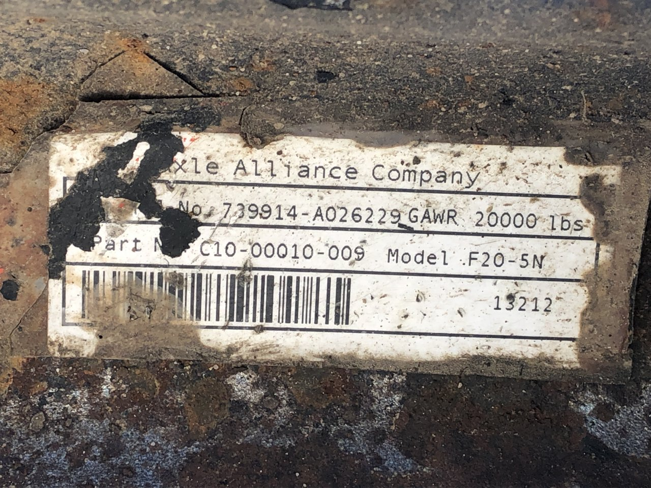Alliance Axle AF-20.0-5 Axle Assembly, Front - C10-00010-009